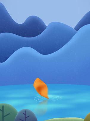 Vẽ tay lá hoạt hình trên hồ lá nền quảng cáo mùa thu Vẽ tay Phim hoạt Tay Phim Vẽ Hình Nền