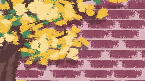 手描きクリエイティブ手描き黄色のジャスミンレッドフェンス背景デザイン, クリエイティブ, 手描き, 赤い柵 背景画像