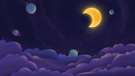 hand drawn cute sky moon white clouds planet background, Hand Painted, Cartoon, Lovely Background image