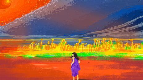 Vẽ tay cô gái lãng mạn nền trong bức tranh sơn dầu đầy màu sắc Vẽ tay Màu Tranh sơn Sơn Tay Màu Hình Nền