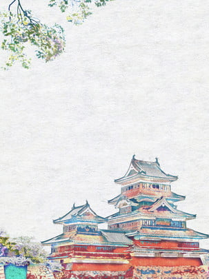 Hand Drawn Style Japanese Ancient Architecture Loft Background, Hand Drawn Style, Japan, Building, Background image