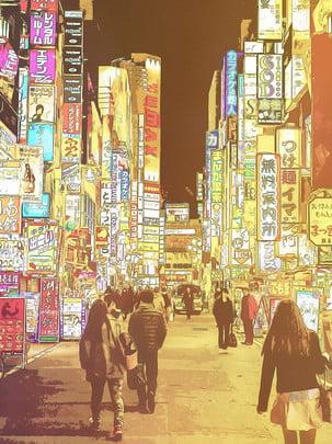हाथ से तैयार शैली जापानी स्नैक स्ट्रीट नाइट मार्केट की पृष्ठभूमि , हाथ खींचा हुआ, जापान, स्नैक स्ट्रीट पृष्ठभूमि छवि