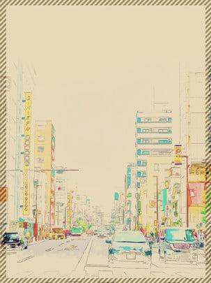 Ручной обращается стиль фона японской улице , Рисованный стиль, Япония, улица Фоновый рисунок