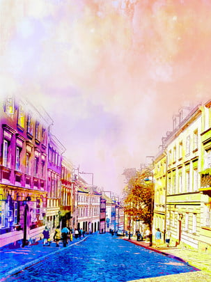 Ручной обращается стиль польский улица фон , Рисованной, стиль, Польша Фоновый рисунок