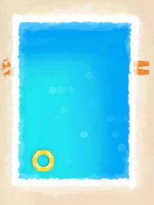 Vẽ tay tập hồ bơi mùa hè Bên bờ biển Bể Hoạt Hè Mùa Hình Nền