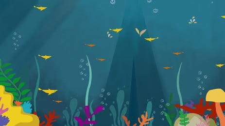 hand drawn summer underwater world background material, Underwater World, Sea, Ocean Background image