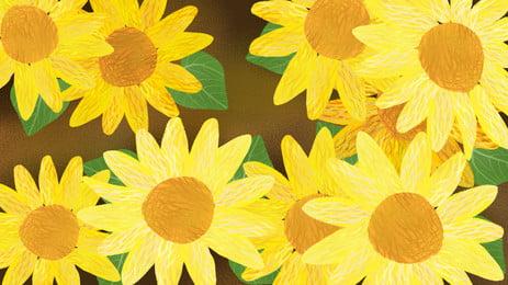 手繪向日葵背景圖片設計, 手繪背景, 卡通, 植物 背景圖片