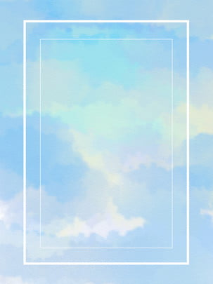 Hand Drawn White Clouds Blue Sky Background, Hand Painted, White Clouds, Blue Sky, Background image