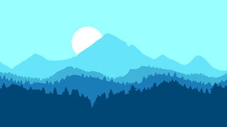 hand painted forest trees mountain peak, Sun, Silhouette, Poster Background image