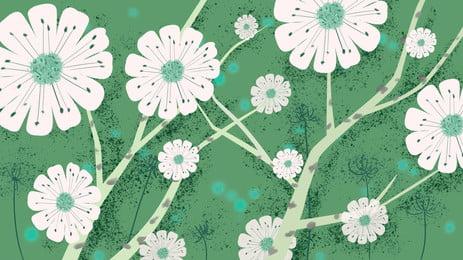 Ручная роспись свежий зеленый фон белый маленький цветок рекламный пресная зеленый белый Фоновое изображение
