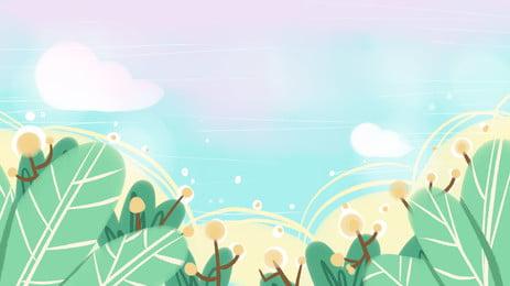 手繪清新綠色簡約樹葉愛心雲朵設計, 清新, 綠色, 愛心 背景圖片