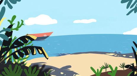 Ручная роспись свежий летний пляж природа пейзаж фон дизайн море праздник Морская вода приморский Вид на море деревья Зеленое Фоновое изображение