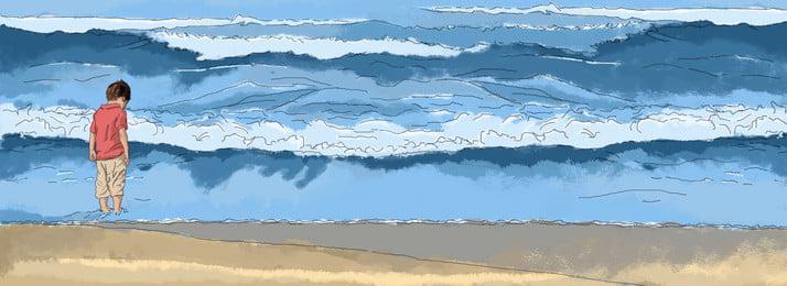 手描きイラスト、夏、涼しく、さわやかなビーチ、海、子供たち、子供の遊び 砂 ビーチ 海 背景画像