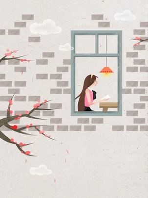 Vẽ tay cửa sổ văn học đọc tài liệu nền cô gái Cô Gái Cô Hình Nền