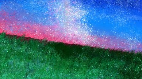 Healing Dream Ocean Wonderland Background Material, Blue, Grassland, Ocean, Background image