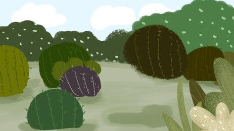 治愈系手繪植物仙人掌banner背景, 治愈系, 卡通, 手繪 背景圖片