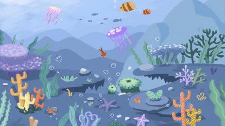 水中世界背景素材を癒す, 海洋生物, クラゲ, アンダーウォーターワールド 背景画像