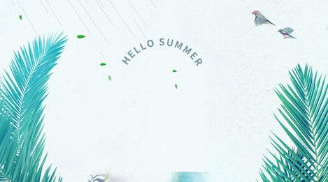 Xin chào mùa hè lá áp phích vật liệu nền Chào mùa hè Lá Tươi Chim Liệu Cáo Bối Hình Nền