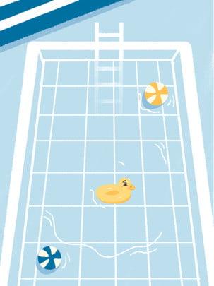 Minh họa mùa hè lớn vịt vàng nhỏ hồ bơi nền Bối cảnh Nhiệt lớn Vịt Bối Minh Họa Hình Nền
