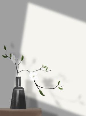 illustration fresh flower hand painted literary simple high end aesthetic vase , Background, Illustration, Hand Painted Background image