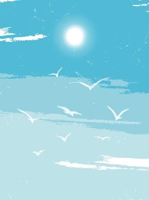 イラスト、風、青い空、白い雲、かもめ背景 夏 空 青い空 背景画像