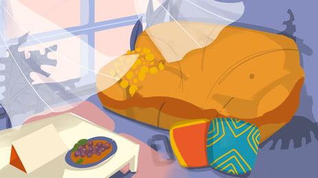 室内のソファーのお茶の窓のカーテンの漫画の背景, アニメ, 客間, 室内 背景画像