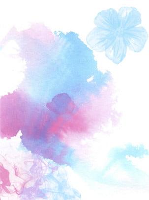水墨花藍色紫色粉色墨水 , 花, 藍色, 紫色 背景圖片