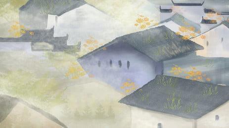 水墨江南古鎮建築, 水墨, 古鎮, 建築 背景圖片
