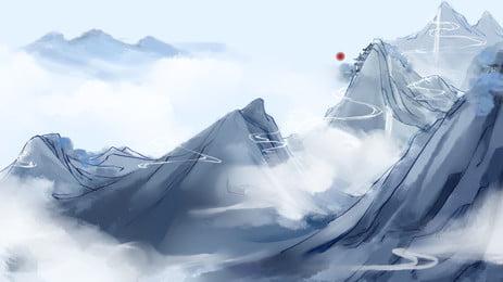 Ink Style Green Hills White Clouds Sun Cartoon Background Wind,castle Peak,white Clouds,sun,cartoon,background, Ink Style Green Hills White Clouds Sun Cartoon Background, Wind, Castle, Background image