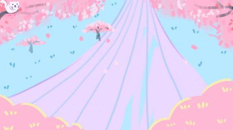 Yếu tố nền mèo con trên cây đào hồng Nền Hồng Cây Hình Nền