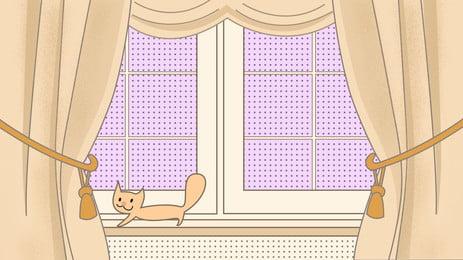खिड़की के शीशे की पर्दे पृष्ठभूमि, खिड़की दासा, बिल्ली का बच्चा, खिड़की पृष्ठभूमि छवि