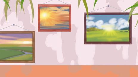 Mural de paisagem na parede Wall Mural Cenário Decoração Mão desenhada Caricatura Desenhada Caricatura Wall Imagem Do Plano De Fundo