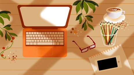 fondo de la historieta del café cepillo color ordenador portátil en tabla madera, Mesa De Madera, Laptop, Colorear Imagen de fondo