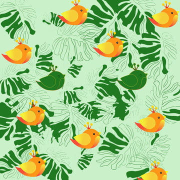 little bird cute cartoon green background , Lovely, Cartoon, Green Background image