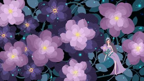 रोमांटिक बैंगनी फूल बेल में थोड़ा परी पृष्ठभूमि तत्व, छोटी परी, रोमांटिक, बैंगनी पृष्ठभूमि छवि
