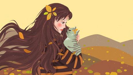 Ôm con mèo con cô con gái nhỏ của nền hoạt hình, Hoạt Hình, Cô Gái Nhỏ, Đỉnh Núi Ảnh nền