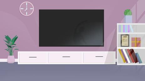 living room video wall cartoon background, Living Room, Tv Wall, Cartoon Background image