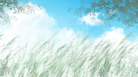 Long Grass Green Branch Blue Sky White Clouds Cartoon Background, Long Grass, Green Branch, Blue Sky, Background image