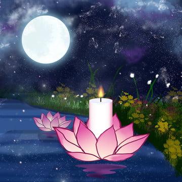 川の蓮の花漫画の背景 , 川, ロータスランプ, グラスランド 背景画像