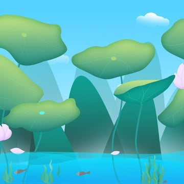 蓮の池の漫画の背景 , グリーン, 新鮮な, 蓮の葉 背景画像