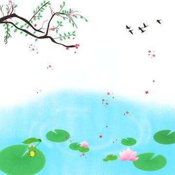 蓮のツバメが空を背景に夏の川の水に咲く , 夏, 川の水, 咲く 背景画像