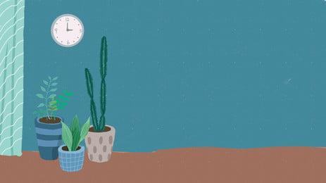 Домашние часы micro stereo в горшке, синий, простой, Растение в горшке Фоновый рисунок