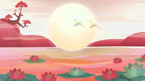 Праздник середины осени Lotus Pond Moon Banner Справочный материал Лист лотоса Лотос пруд Праздник лотоса Лотос Праздник Фоновое изображение