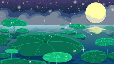 Tết trung thu lotus pond night thiết kế nền minh họa tươi Phong Cách Trung Hình Nền