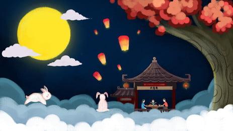 中秋節月祭バナー素材 玉うさぎ 望楼 中秋節 背景画像