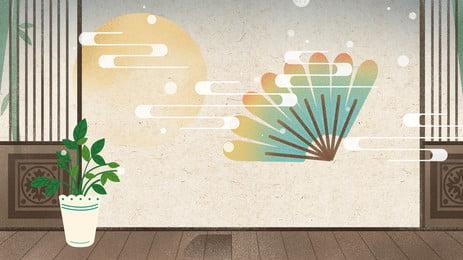中秋節復古中國風手繪背景 中秋節 中國風 傳統背景圖庫