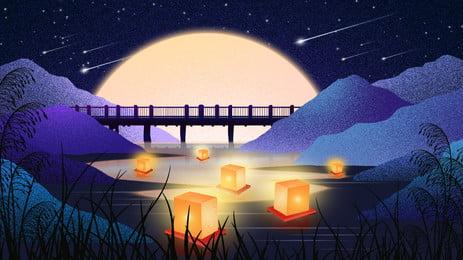 mingyue meteor mountain peak bridge water fountain light background, Bulan Terang, Meteor, Puncak Gunung imej latar belakang