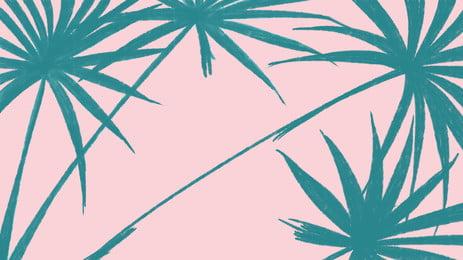 簡約藍色棕櫚葉背景素材, 藍色, 綠葉, 葉子 背景圖片
