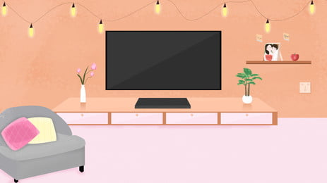mixed color cartoon living room background material illustration, Mix And Match, Cartoon, Home Background Background image