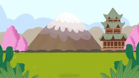 산 피크 높은 타워 잔디 녹색 잎 만화 배경, 산봉우리, 높은 탑, 초원 배경 이미지